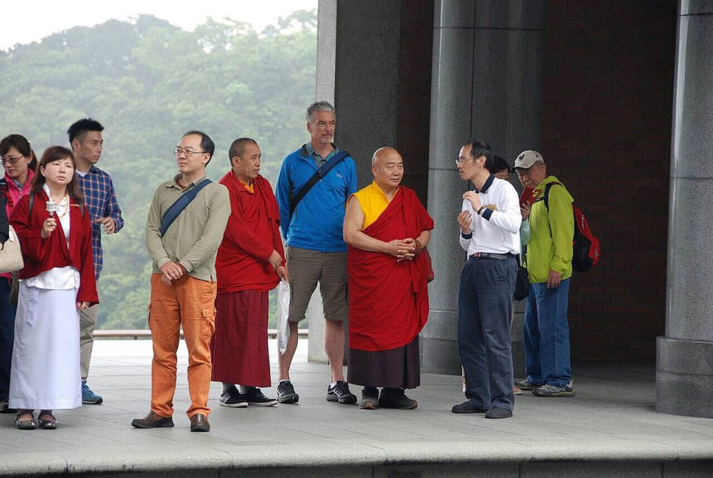 Rinpoche and students visiting Dharma Drum monastery in Taiwan