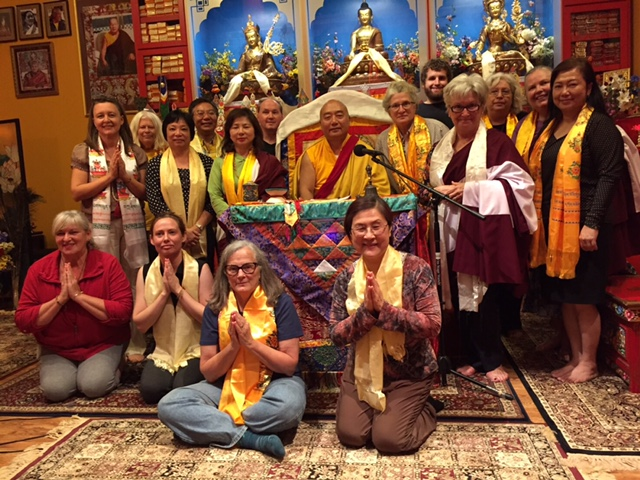 Rinpoche and students